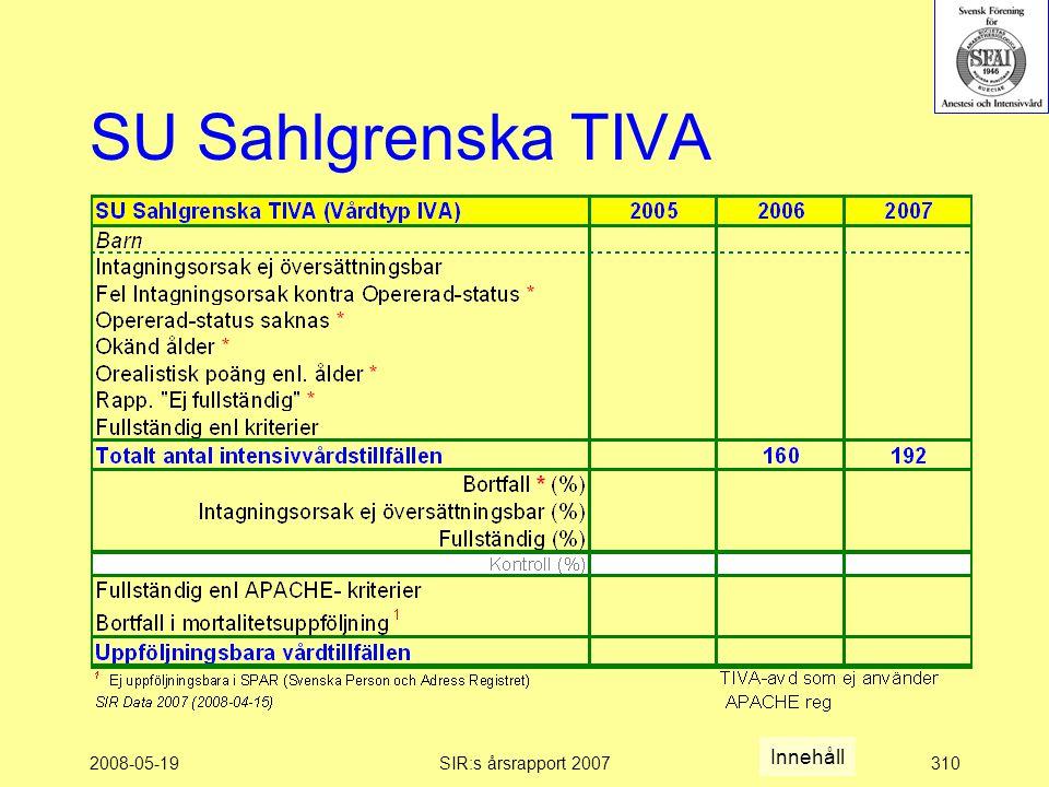 2008-05-19SIR:s årsrapport 2007310 SU Sahlgrenska TIVA Innehåll