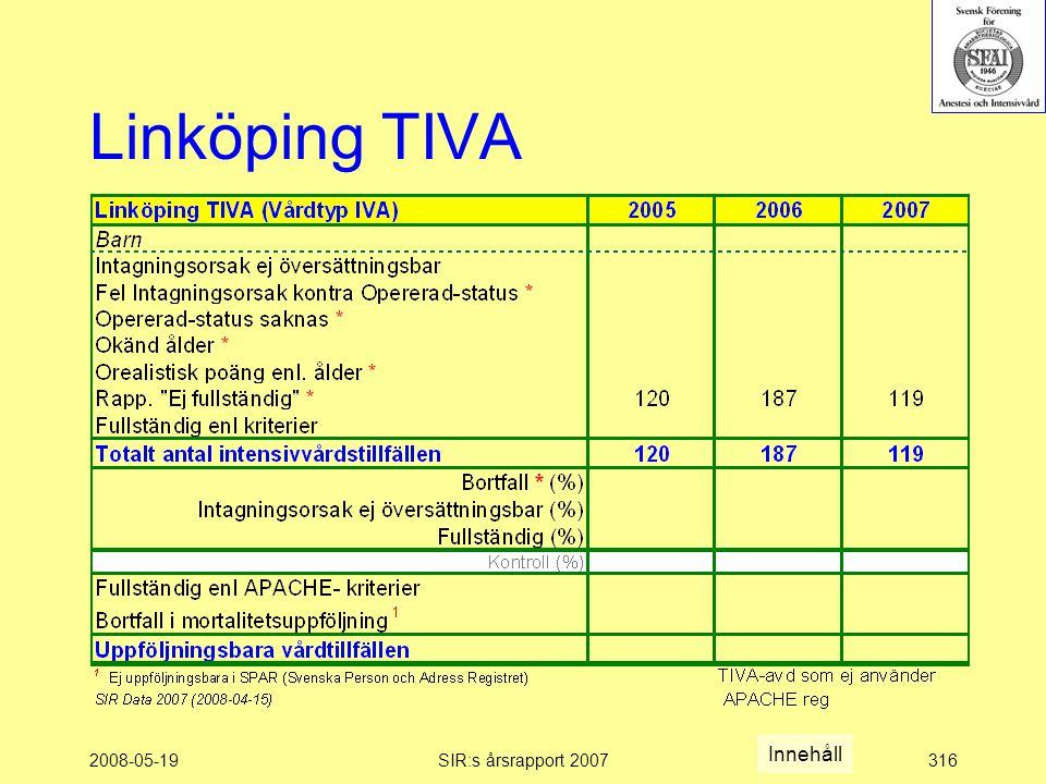2008-05-19SIR:s årsrapport 2007316 Linköping TIVA Innehåll