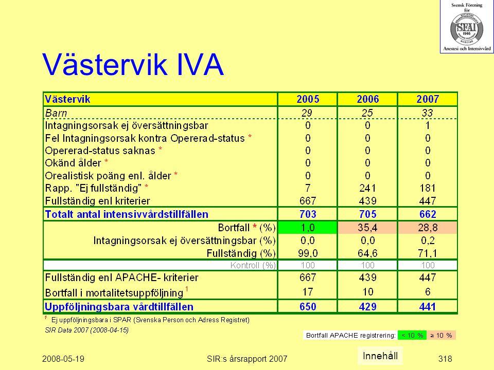 2008-05-19SIR:s årsrapport 2007318 Västervik IVA Innehåll