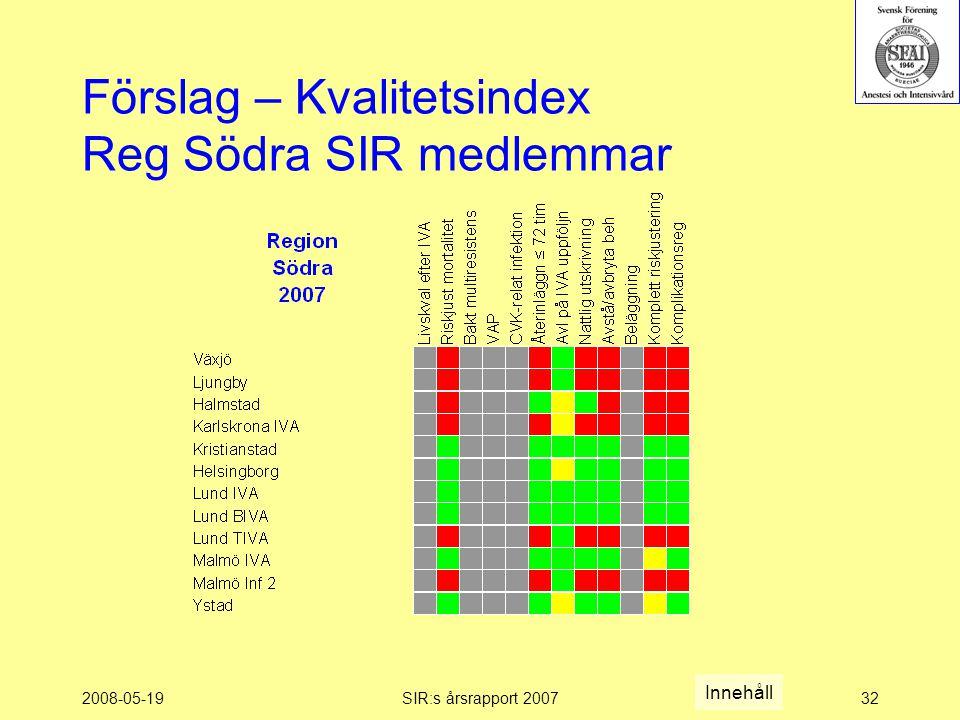 2008-05-19SIR:s årsrapport 200732 Förslag – Kvalitetsindex Reg Södra SIR medlemmar Innehåll