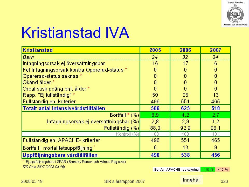 2008-05-19SIR:s årsrapport 2007323 Kristianstad IVA Innehåll