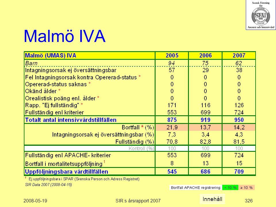 2008-05-19SIR:s årsrapport 2007326 Malmö IVA Innehåll