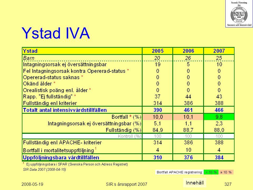 2008-05-19SIR:s årsrapport 2007327 Ystad IVA Innehåll