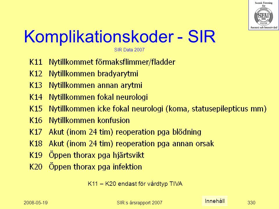 2008-05-19SIR:s årsrapport 2007330 Komplikationskoder - SIR SIR Data 2007 K11 – K20 endast för vårdtyp TIVA Innehåll