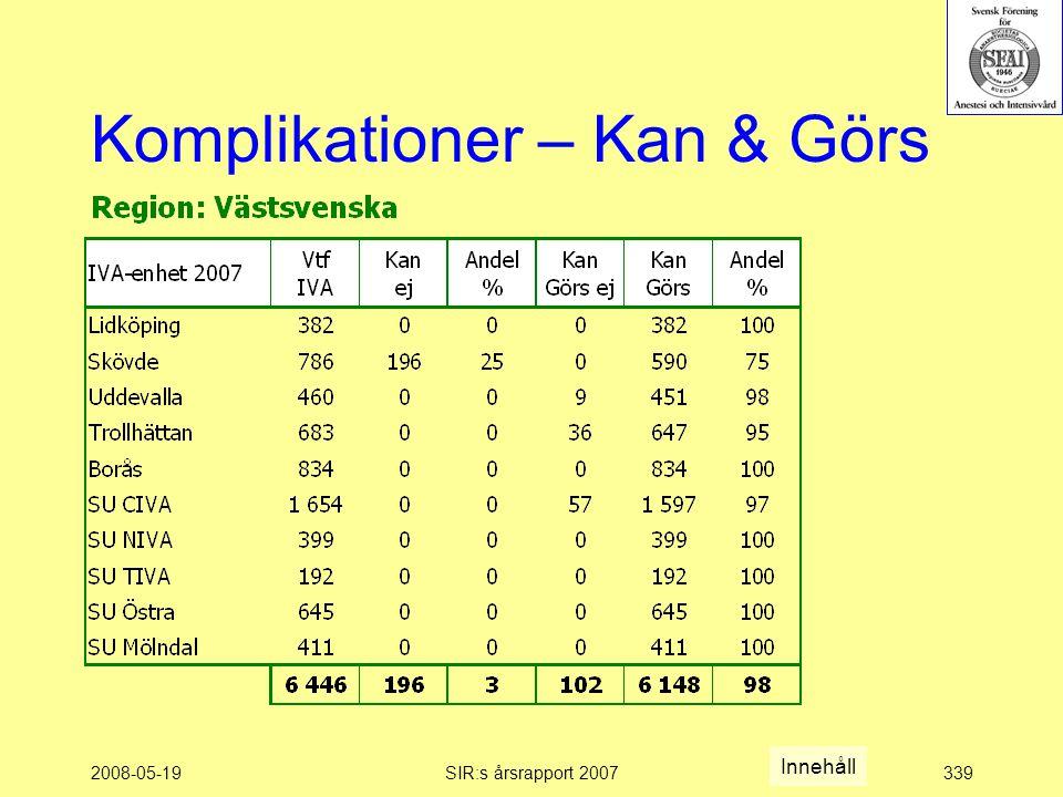 2008-05-19SIR:s årsrapport 2007339 Komplikationer – Kan & Görs Innehåll