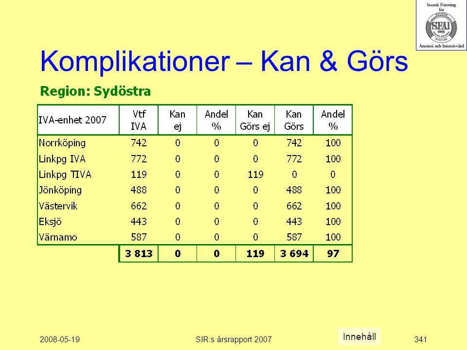 2008-05-19SIR:s årsrapport 2007341 Komplikationer – Kan & Görs Innehåll