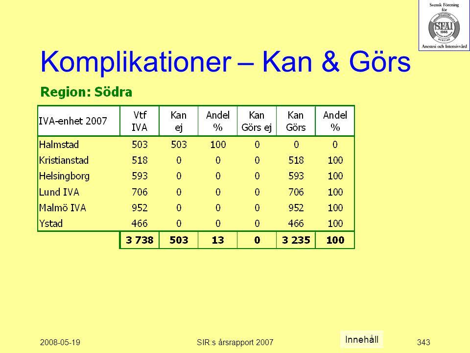 2008-05-19SIR:s årsrapport 2007343 Komplikationer – Kan & Görs Innehåll