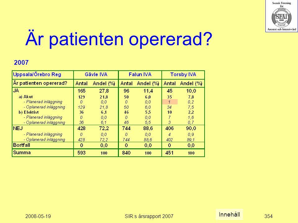 2008-05-19SIR:s årsrapport 2007354 Är patienten opererad Innehåll 2007