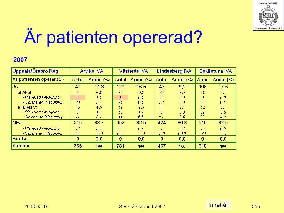 2008-05-19SIR:s årsrapport 2007355 Är patienten opererad Innehåll 2007