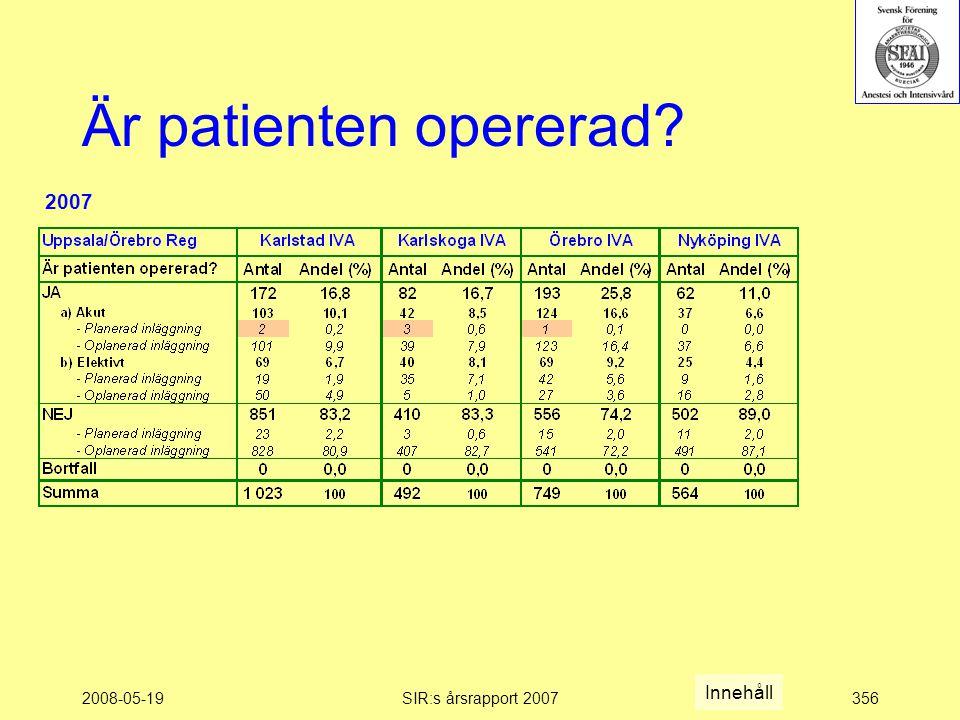 2008-05-19SIR:s årsrapport 2007356 Är patienten opererad Innehåll 2007