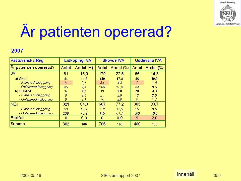 2008-05-19SIR:s årsrapport 2007359 Är patienten opererad Innehåll 2007