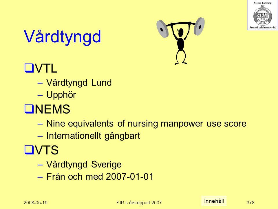 2008-05-19SIR:s årsrapport 2007378 Vårdtyngd  VTL –Vårdtyngd Lund –Upphör  NEMS –Nine equivalents of nursing manpower use score –Internationellt gångbart  VTS –Vårdtyngd Sverige –Från och med 2007-01-01 Innehåll