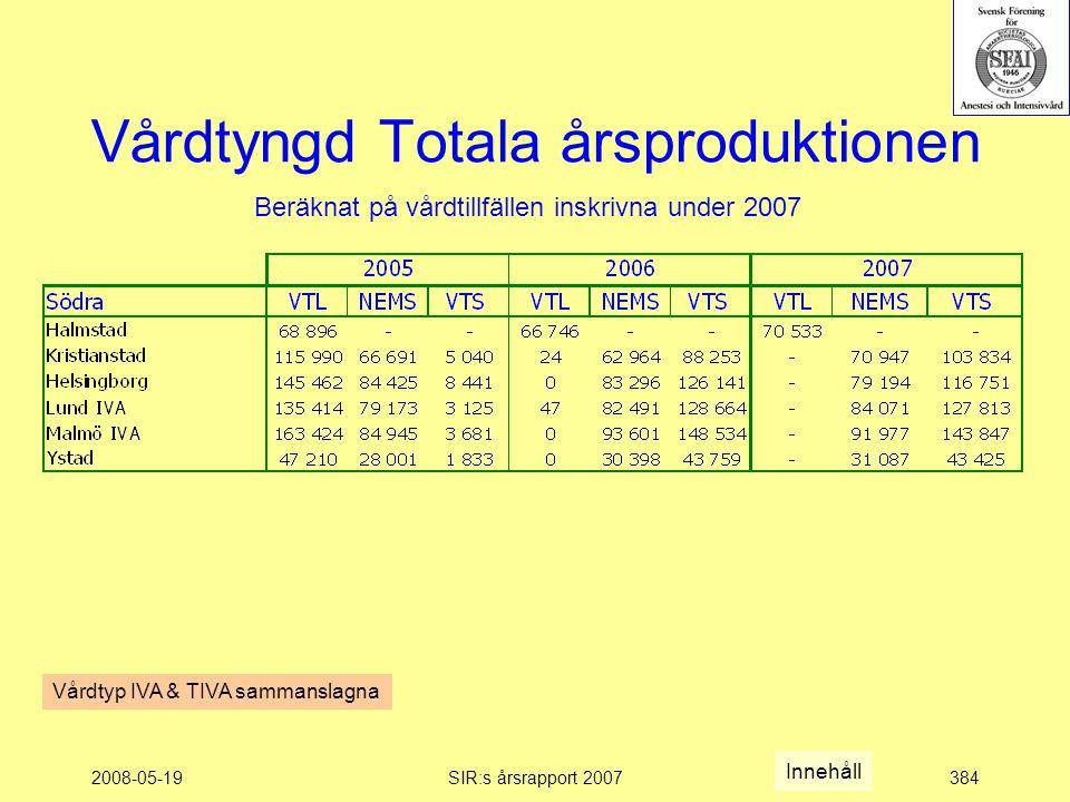 2008-05-19SIR:s årsrapport 2007384 Vårdtyngd Totala årsproduktionen Beräknat på vårdtillfällen inskrivna under 2007 Innehåll Vårdtyp IVA & TIVA sammanslagna