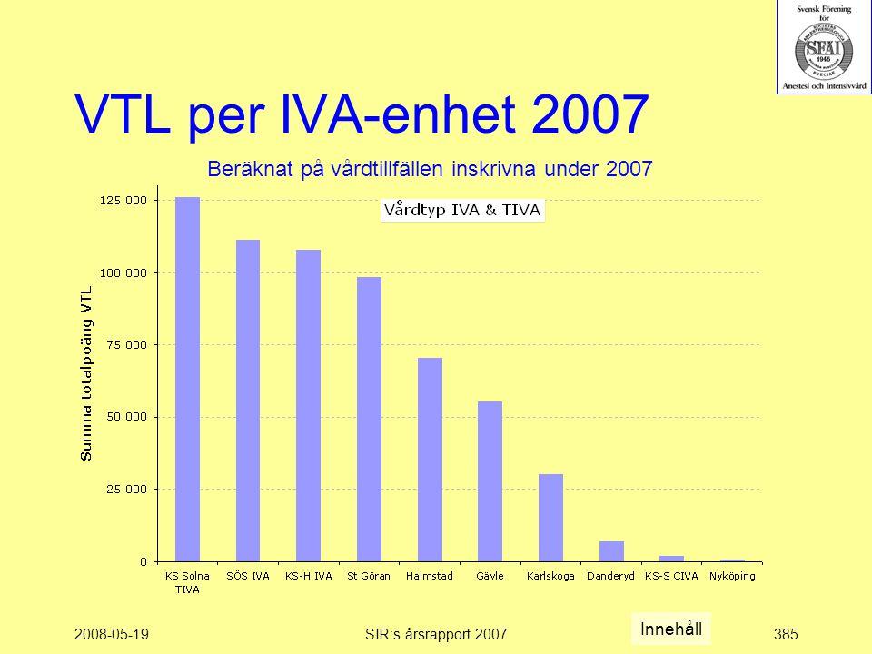 2008-05-19SIR:s årsrapport 2007385 VTL per IVA-enhet 2007 Beräknat på vårdtillfällen inskrivna under 2007 Innehåll