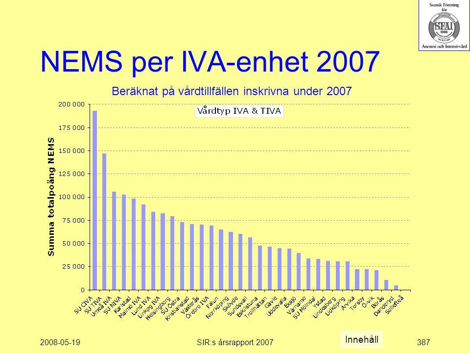 2008-05-19SIR:s årsrapport 2007387 NEMS per IVA-enhet 2007 Beräknat på vårdtillfällen inskrivna under 2007 Innehåll