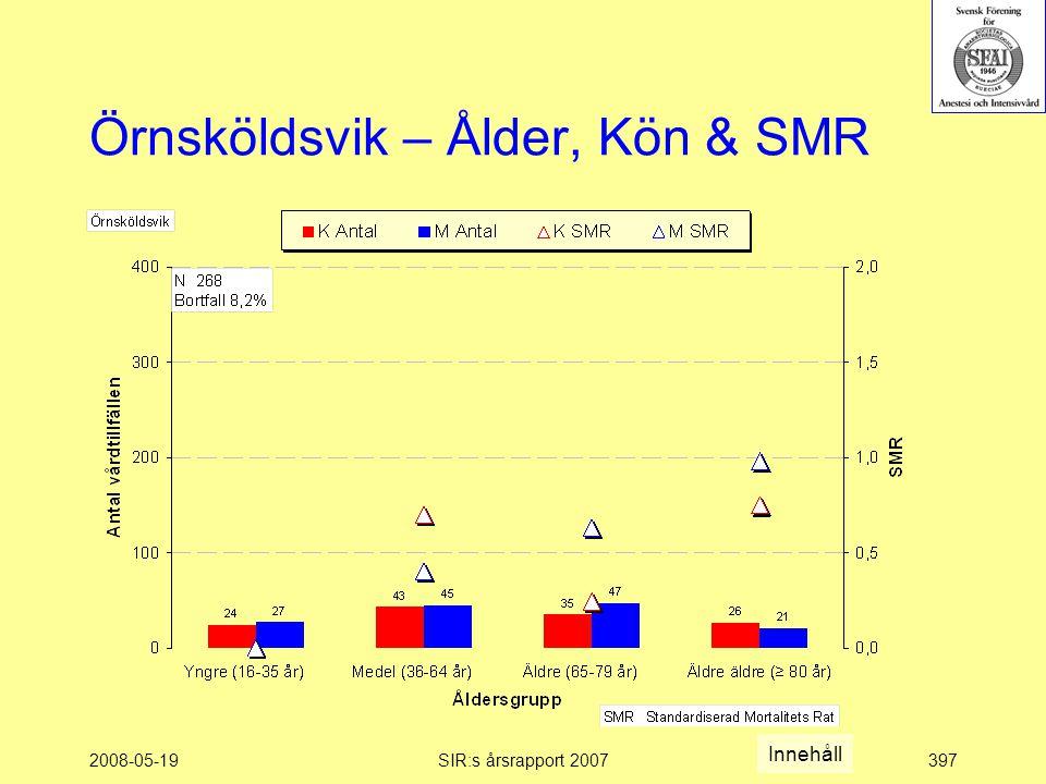 2008-05-19SIR:s årsrapport 2007397 Örnsköldsvik – Ålder, Kön & SMR Innehåll