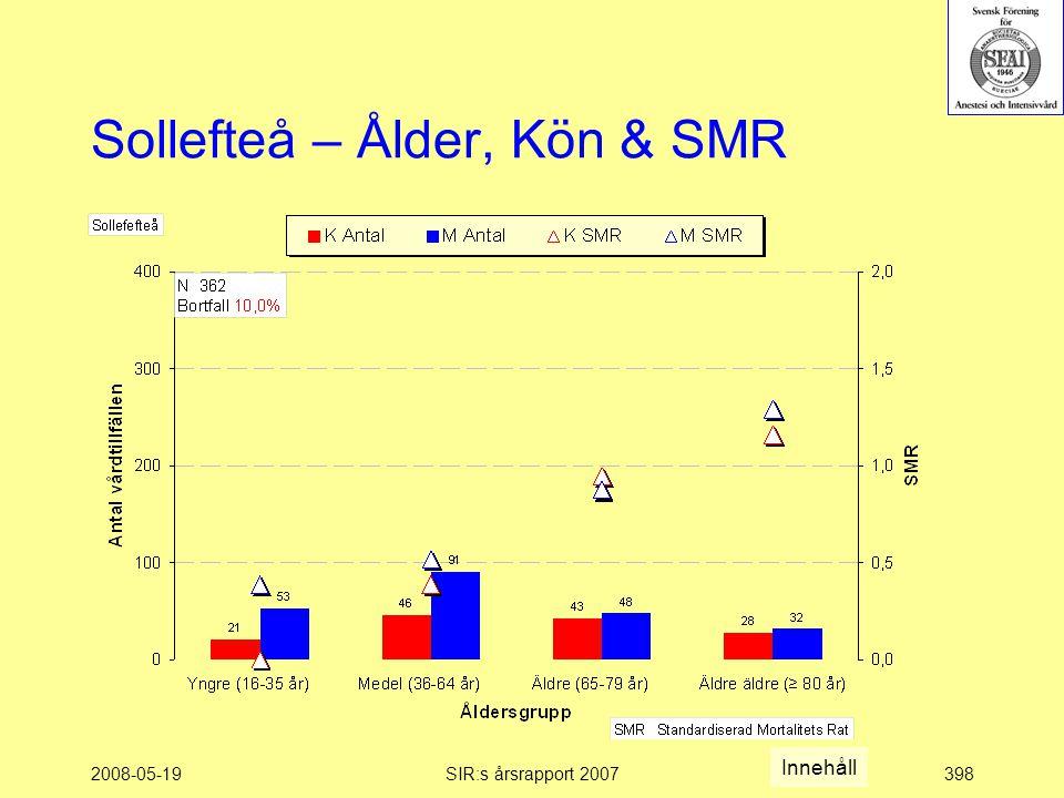 2008-05-19SIR:s årsrapport 2007398 Sollefteå – Ålder, Kön & SMR Innehåll