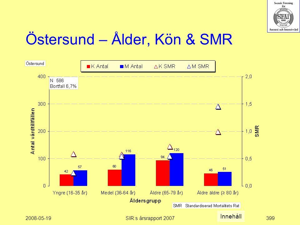 2008-05-19SIR:s årsrapport 2007399 Östersund – Ålder, Kön & SMR Innehåll