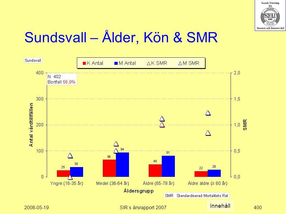 2008-05-19SIR:s årsrapport 2007400 Sundsvall – Ålder, Kön & SMR Innehåll