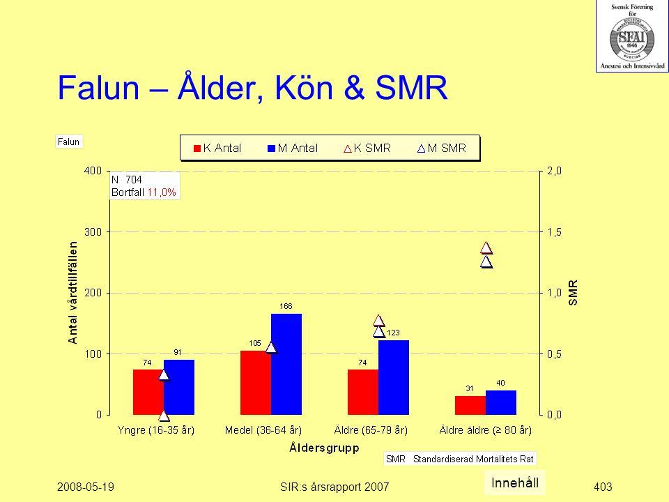2008-05-19SIR:s årsrapport 2007403 Falun – Ålder, Kön & SMR Innehåll