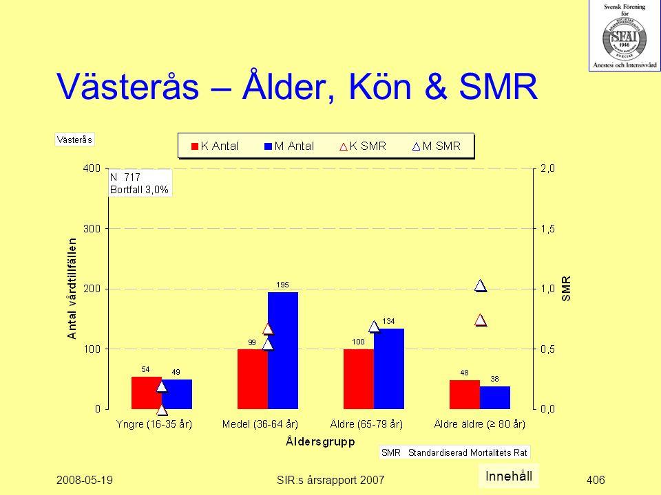 2008-05-19SIR:s årsrapport 2007406 Västerås – Ålder, Kön & SMR Innehåll