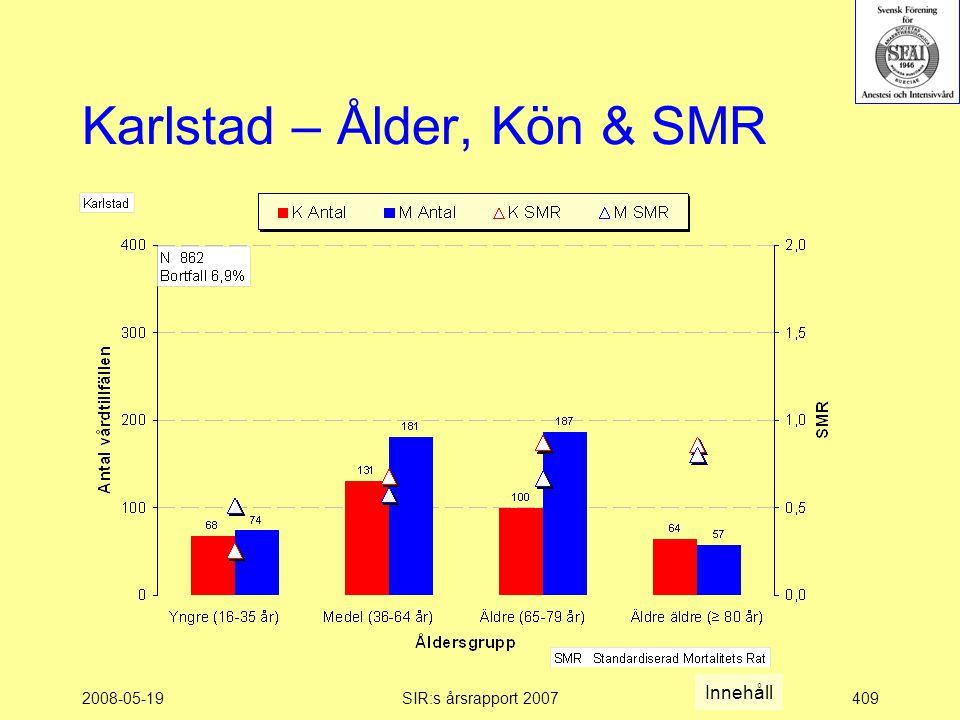 2008-05-19SIR:s årsrapport 2007409 Karlstad – Ålder, Kön & SMR Innehåll