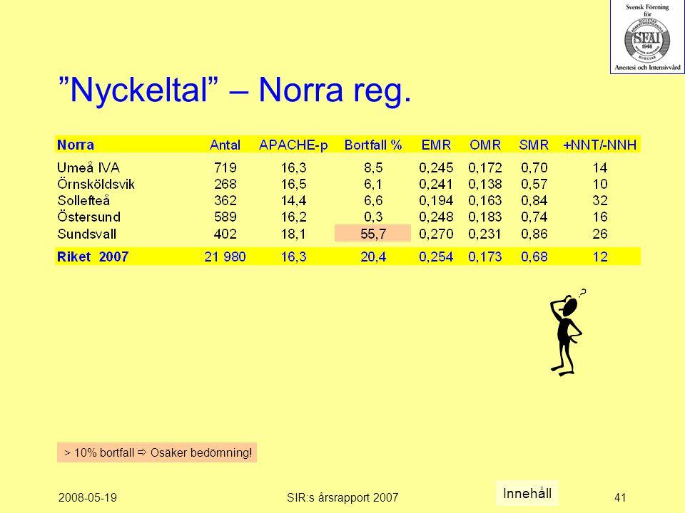 2008-05-19SIR:s årsrapport 200741 Nyckeltal – Norra reg.