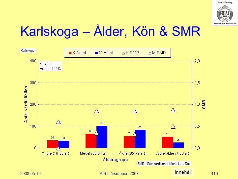 2008-05-19SIR:s årsrapport 2007410 Karlskoga – Ålder, Kön & SMR Innehåll