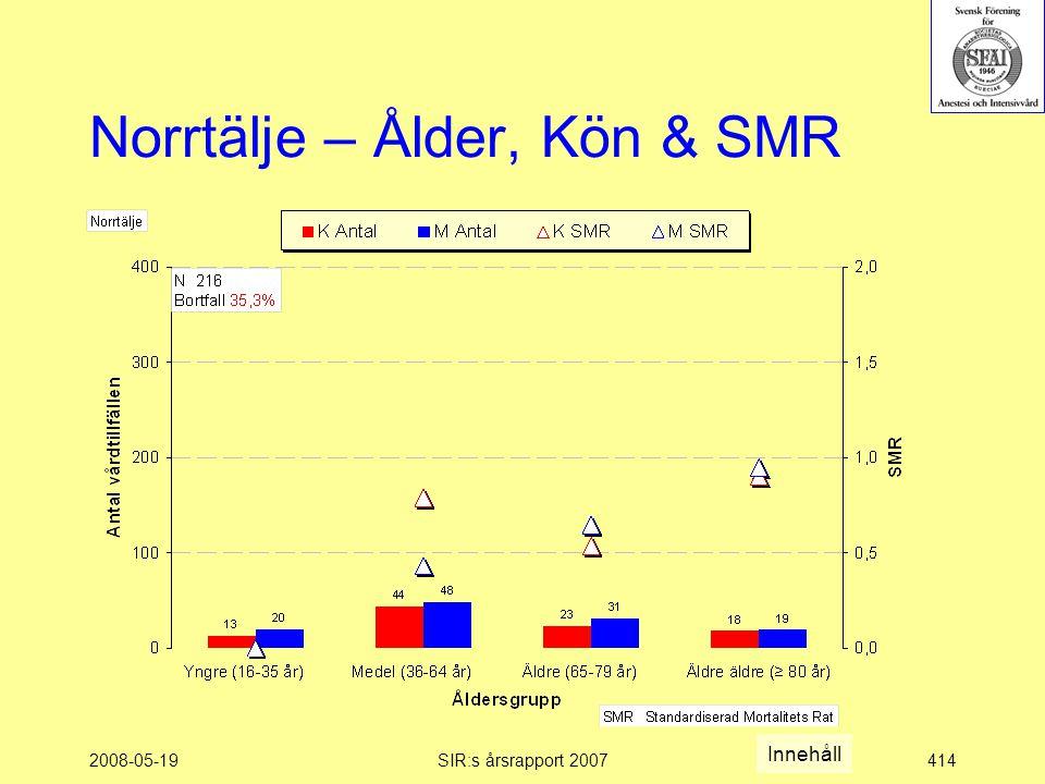 2008-05-19SIR:s årsrapport 2007414 Norrtälje – Ålder, Kön & SMR Innehåll