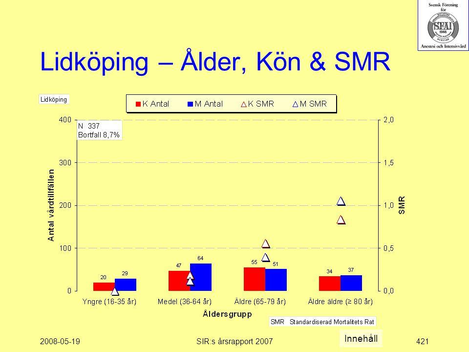 2008-05-19SIR:s årsrapport 2007421 Lidköping – Ålder, Kön & SMR Innehåll