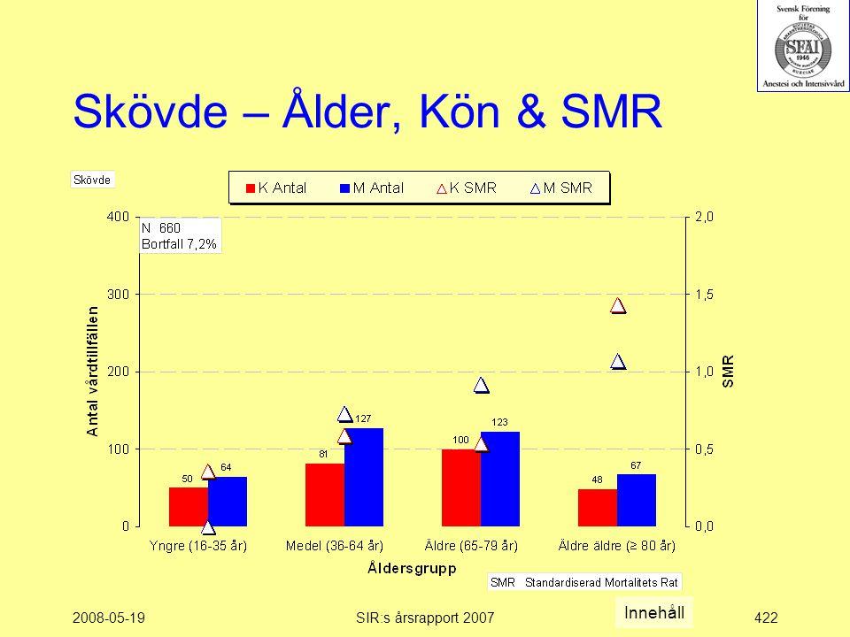 2008-05-19SIR:s årsrapport 2007422 Skövde – Ålder, Kön & SMR Innehåll