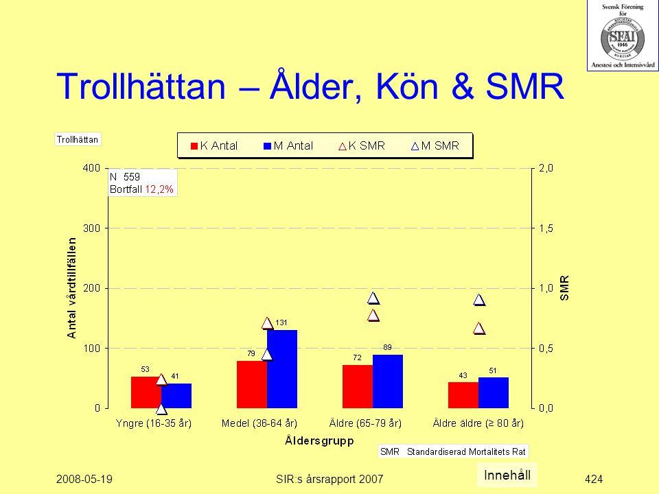 2008-05-19SIR:s årsrapport 2007424 Trollhättan – Ålder, Kön & SMR Innehåll