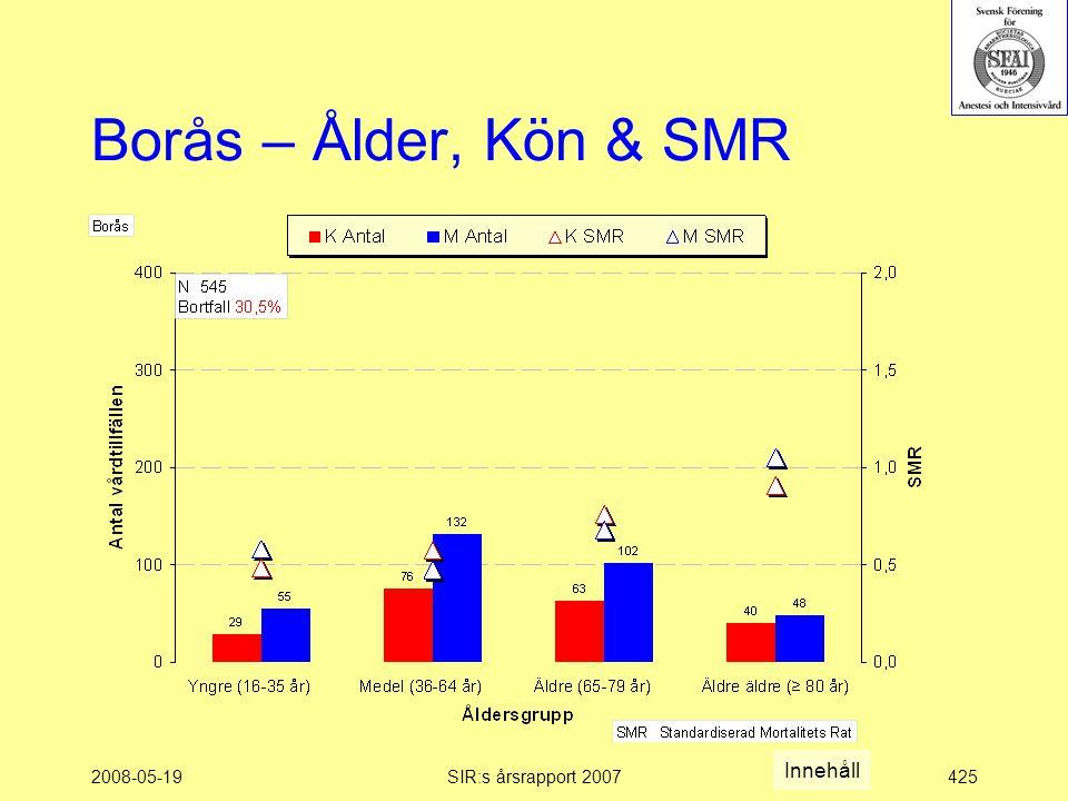 2008-05-19SIR:s årsrapport 2007425 Borås – Ålder, Kön & SMR Innehåll