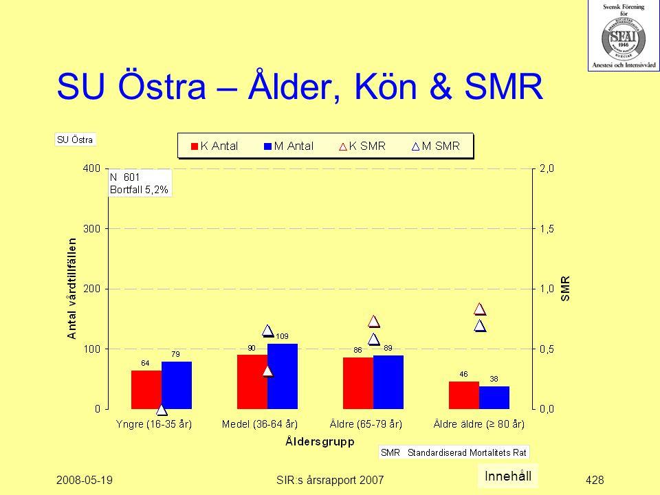 2008-05-19SIR:s årsrapport 2007428 SU Östra – Ålder, Kön & SMR Innehåll