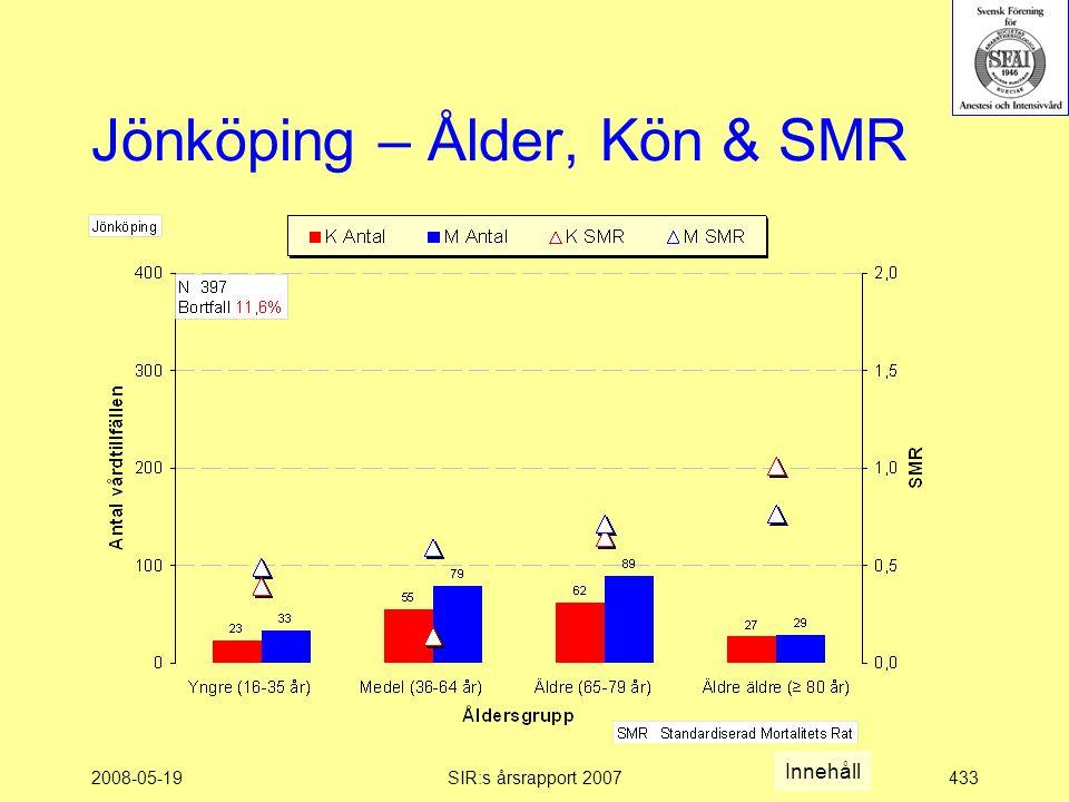 2008-05-19SIR:s årsrapport 2007433 Jönköping – Ålder, Kön & SMR Innehåll