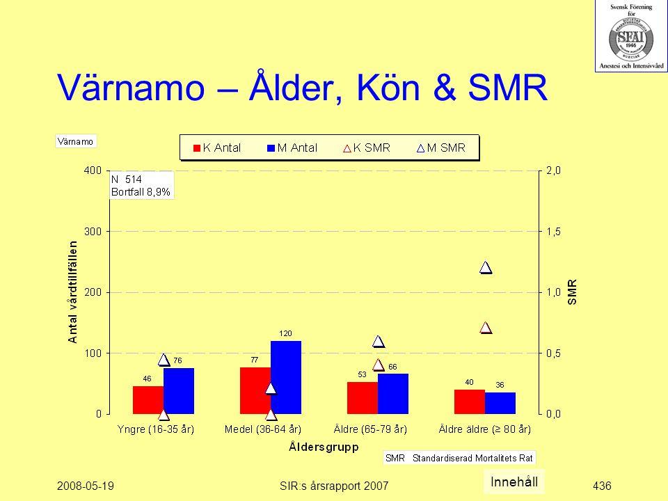 2008-05-19SIR:s årsrapport 2007436 Värnamo – Ålder, Kön & SMR Innehåll
