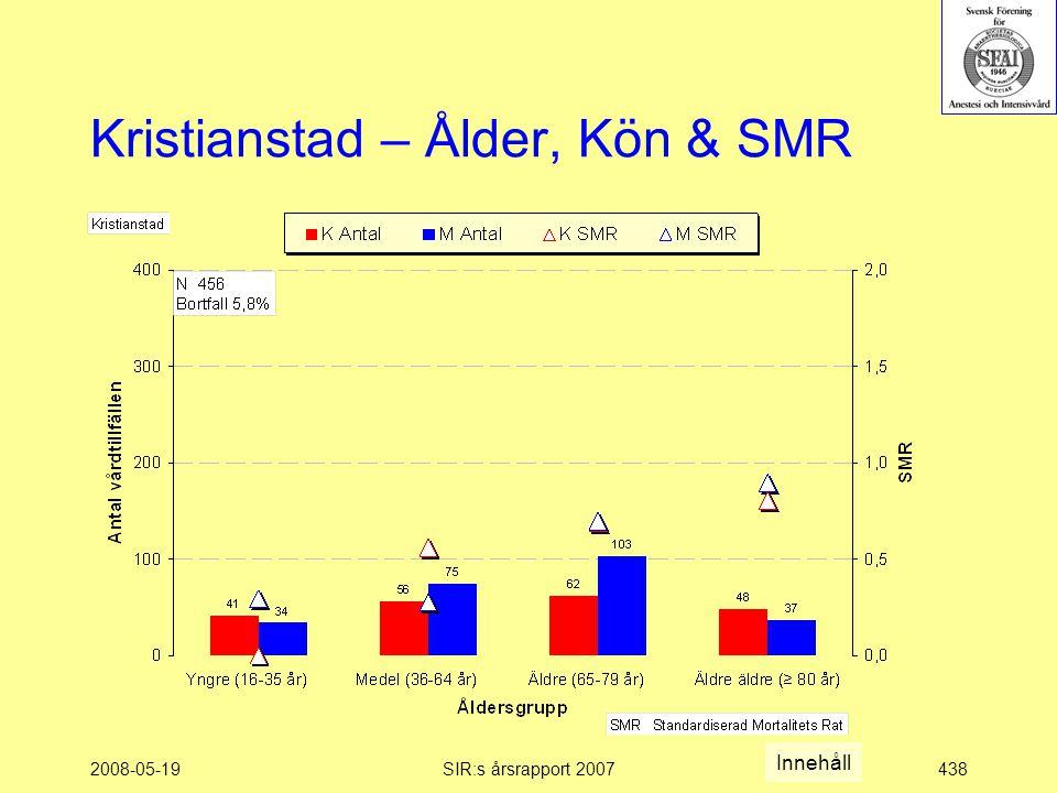 2008-05-19SIR:s årsrapport 2007438 Kristianstad – Ålder, Kön & SMR Innehåll