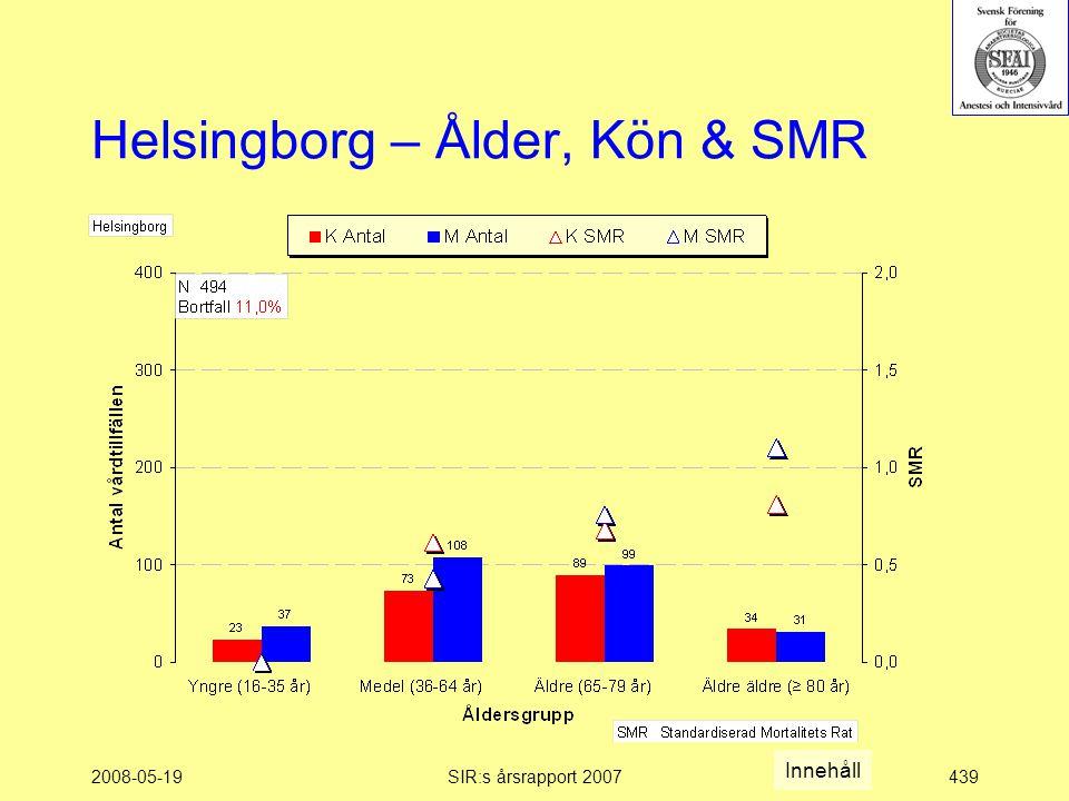2008-05-19SIR:s årsrapport 2007439 Helsingborg – Ålder, Kön & SMR Innehåll