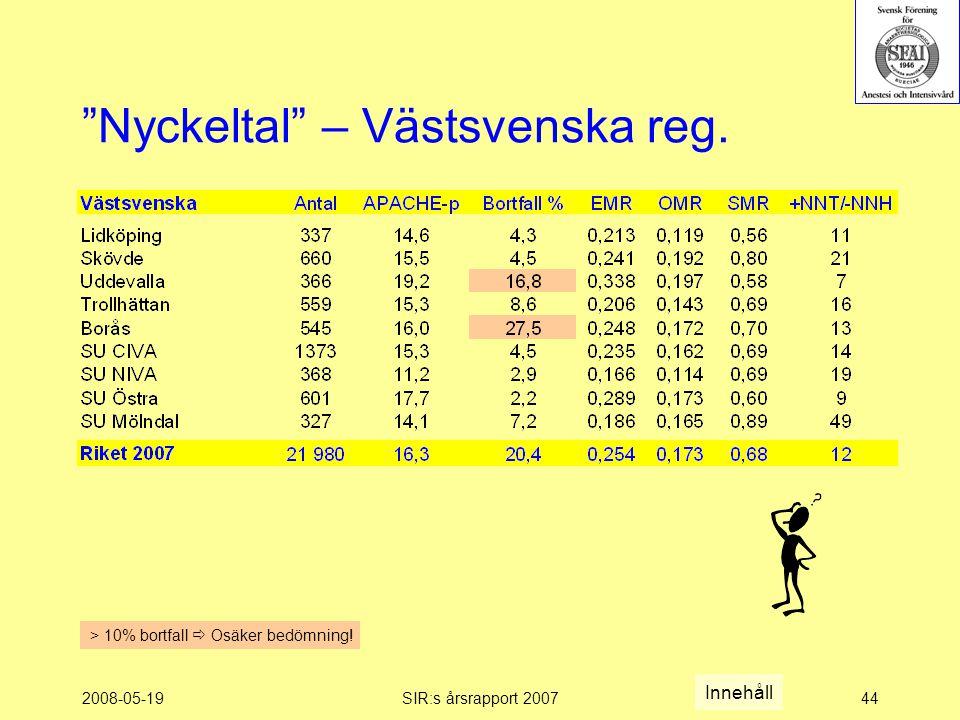 2008-05-19SIR:s årsrapport 200744 Nyckeltal – Västsvenska reg.