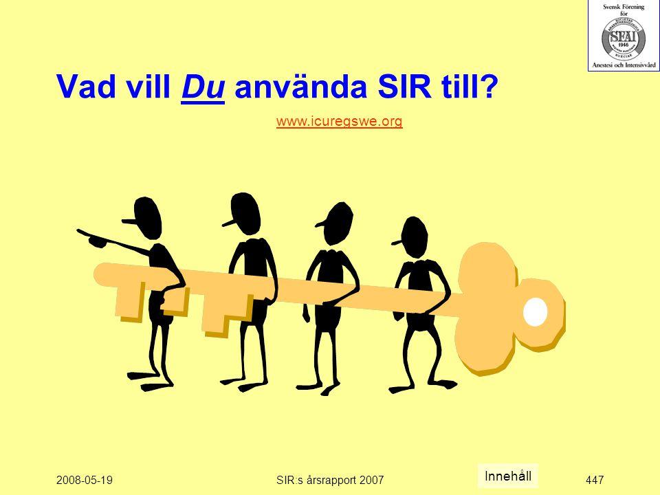 2008-05-19SIR:s årsrapport 2007447 Vad vill Du använda SIR till www.icuregswe.org Innehåll