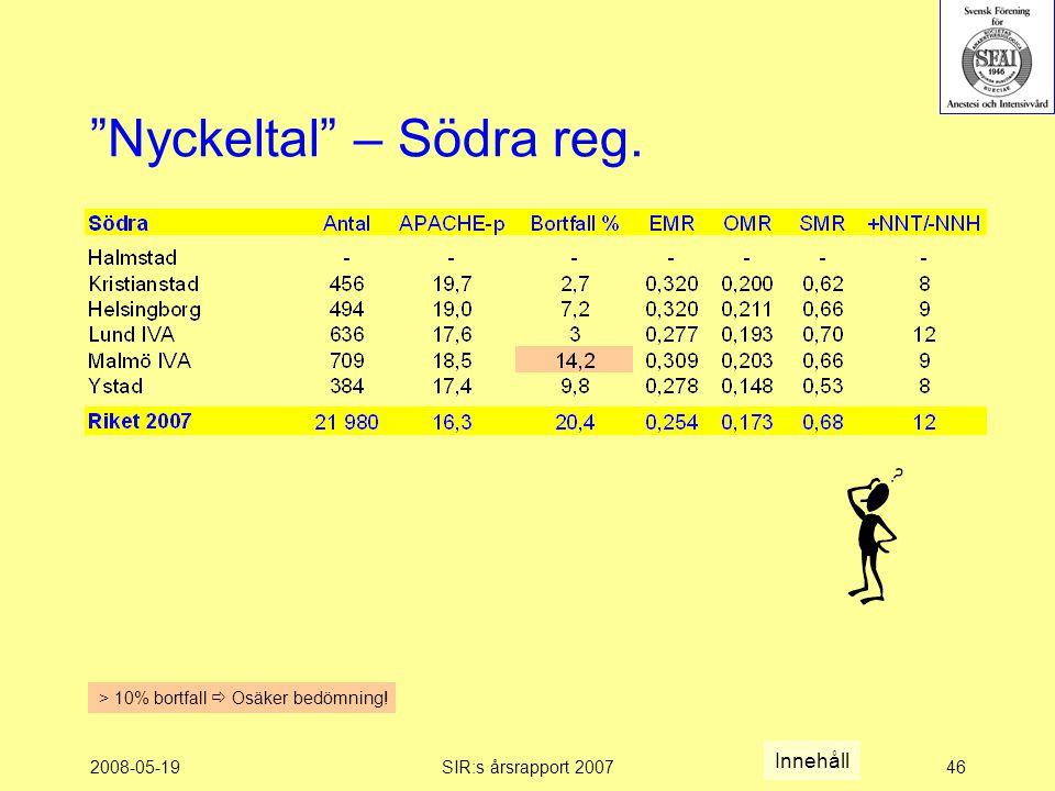 2008-05-19SIR:s årsrapport 200746 Nyckeltal – Södra reg.