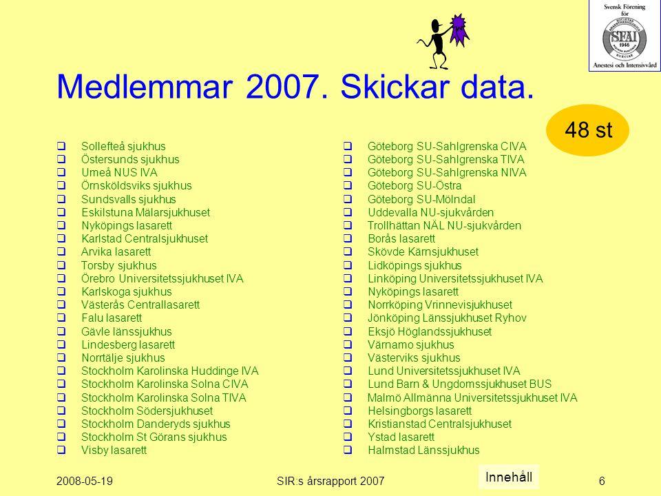 2008-05-19SIR:s årsrapport 20076 Medlemmar 2007. Skickar data.