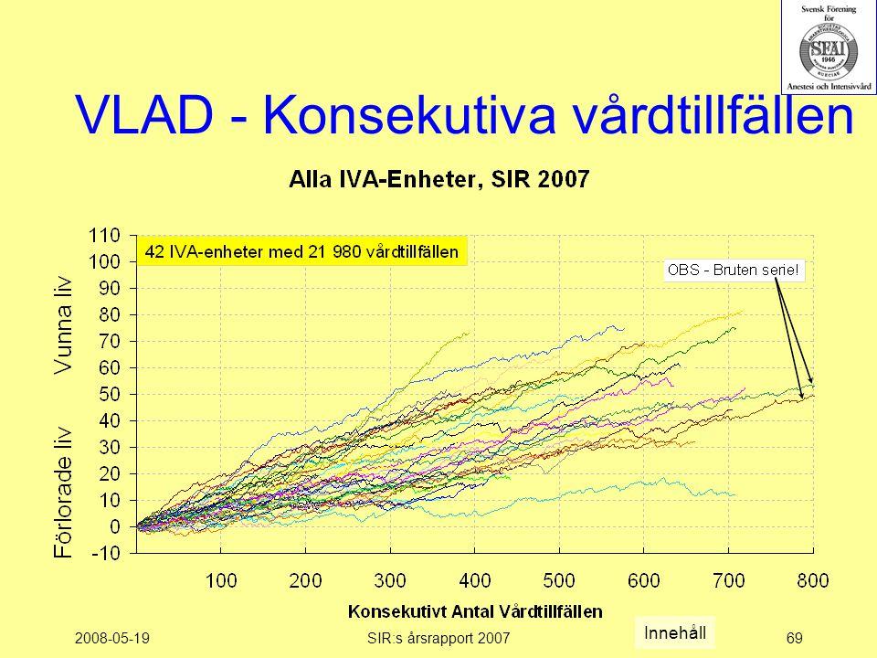 2008-05-19SIR:s årsrapport 200769 VLAD - Konsekutiva vårdtillfällen Innehåll