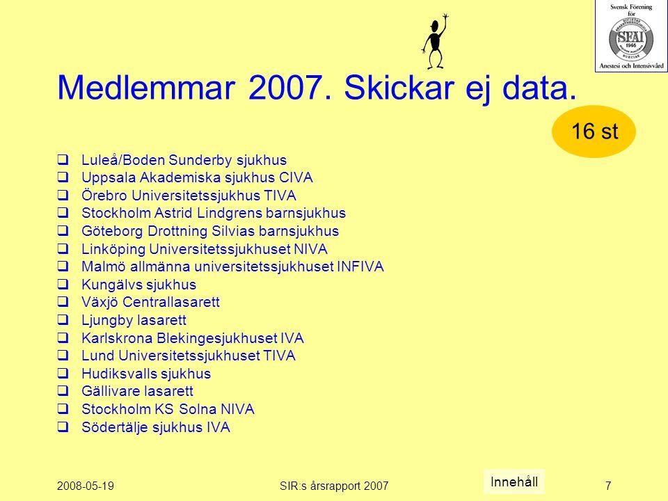 2008-05-19SIR:s årsrapport 20077 Medlemmar 2007. Skickar ej data.
