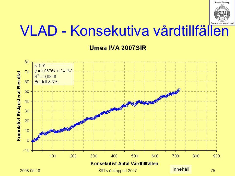 2008-05-19SIR:s årsrapport 200775 VLAD - Konsekutiva vårdtillfällen Innehåll