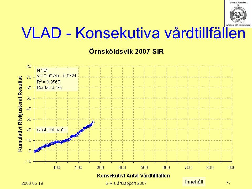 2008-05-19SIR:s årsrapport 200777 VLAD - Konsekutiva vårdtillfällen Innehåll