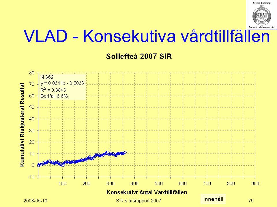 2008-05-19SIR:s årsrapport 200779 VLAD - Konsekutiva vårdtillfällen Innehåll