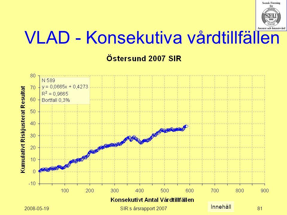2008-05-19SIR:s årsrapport 200781 VLAD - Konsekutiva vårdtillfällen Innehåll