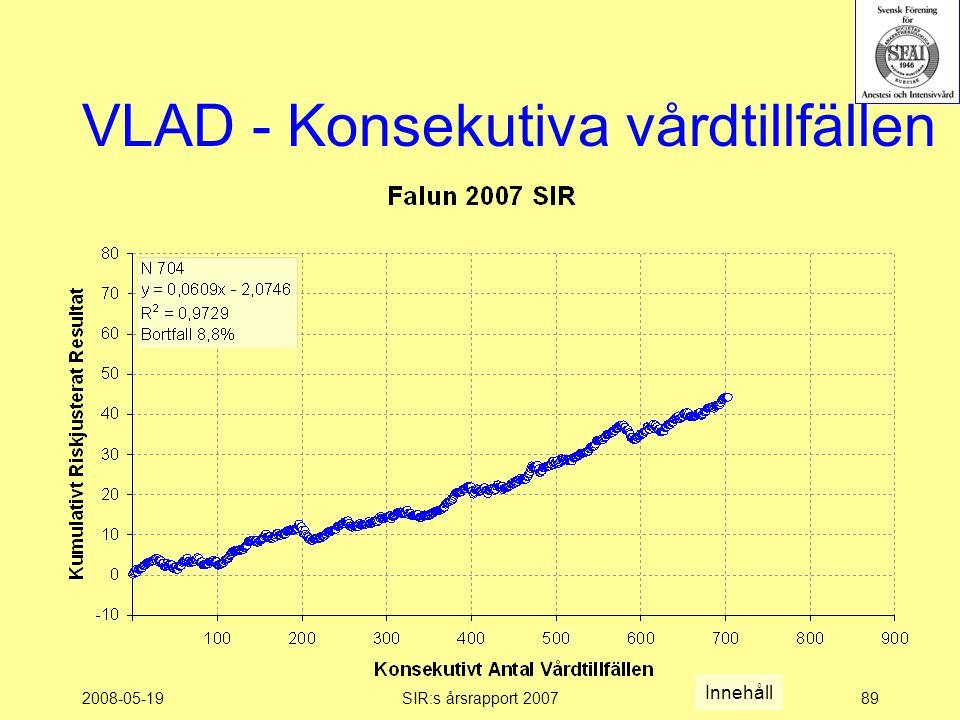 2008-05-19SIR:s årsrapport 200789 VLAD - Konsekutiva vårdtillfällen Innehåll