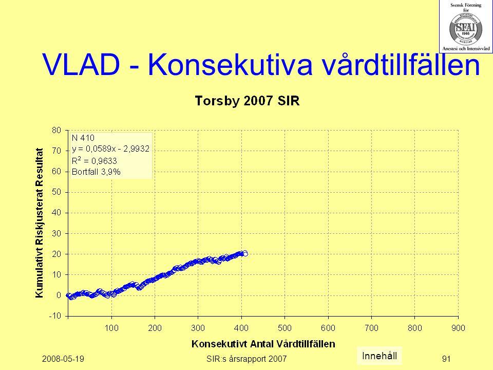 2008-05-19SIR:s årsrapport 200791 VLAD - Konsekutiva vårdtillfällen Innehåll